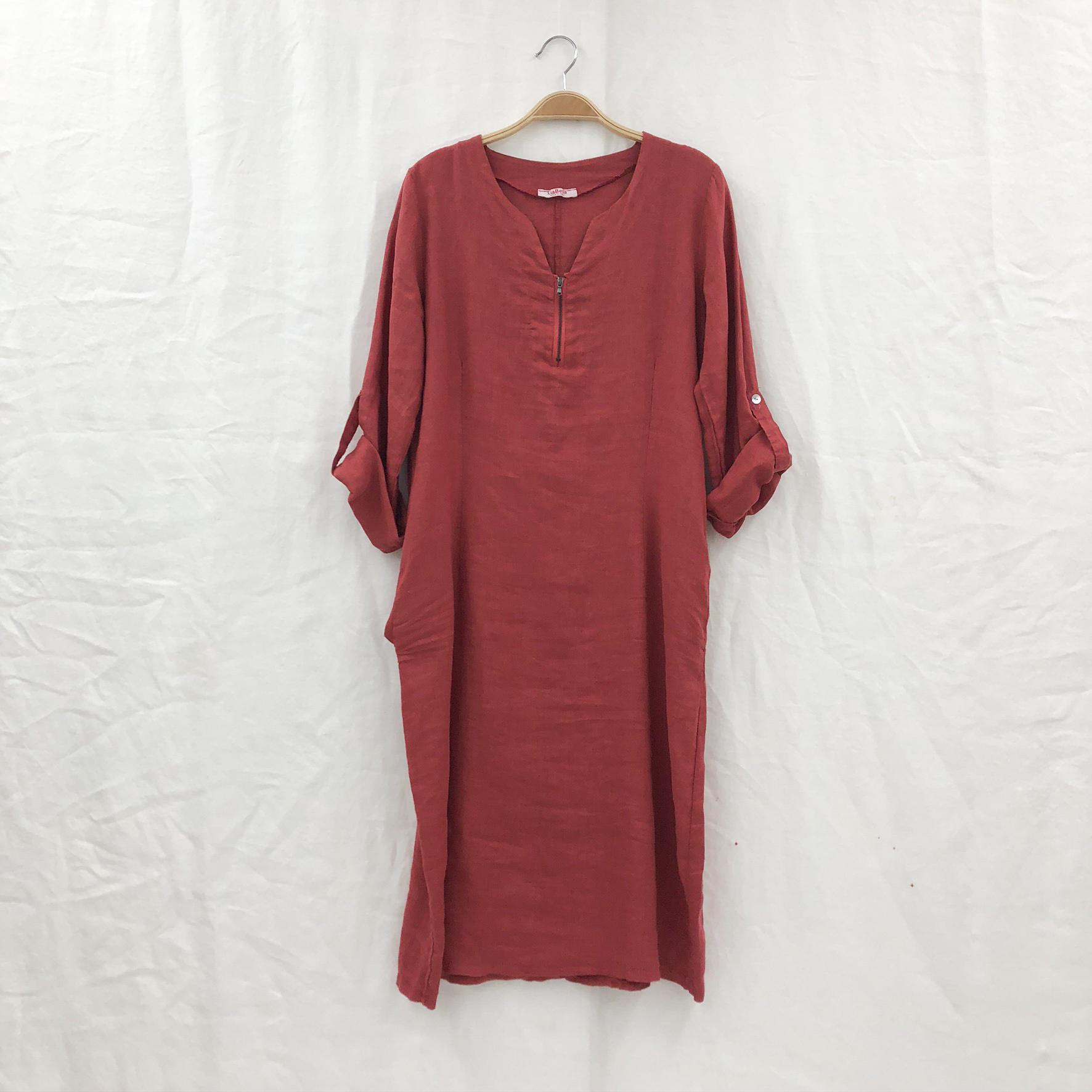 Zipper Dress on Hanger - Rust