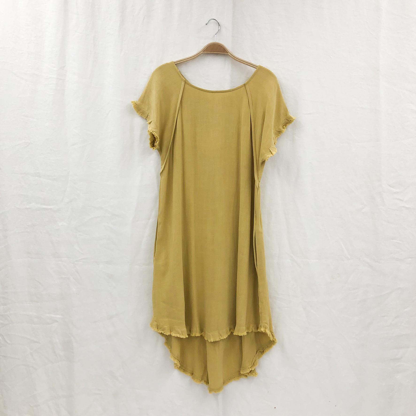 Round Neck Pocket Dress on a Hanger - Golden Yellow