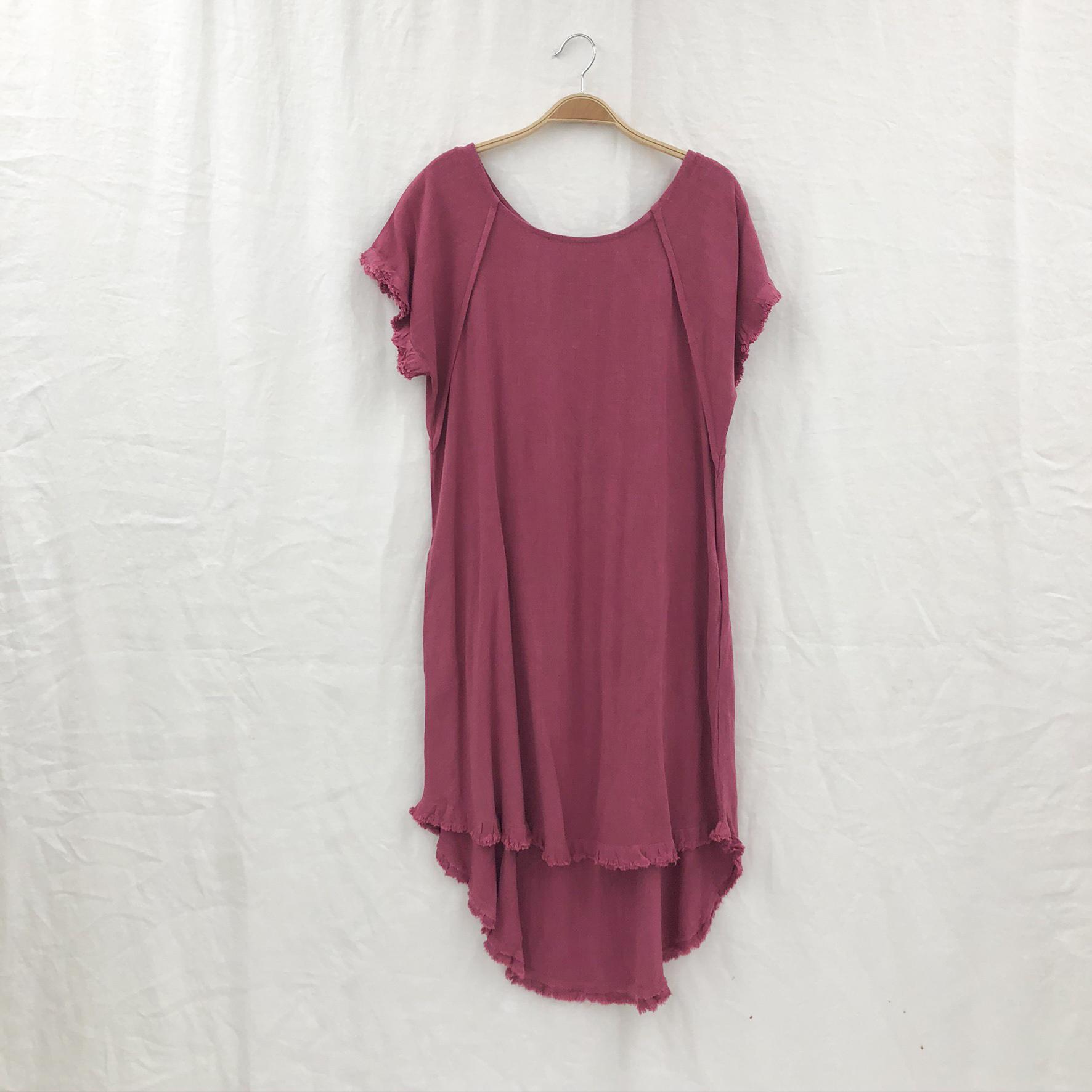 Round Neck Pocket Dress on a Hanger - Berry