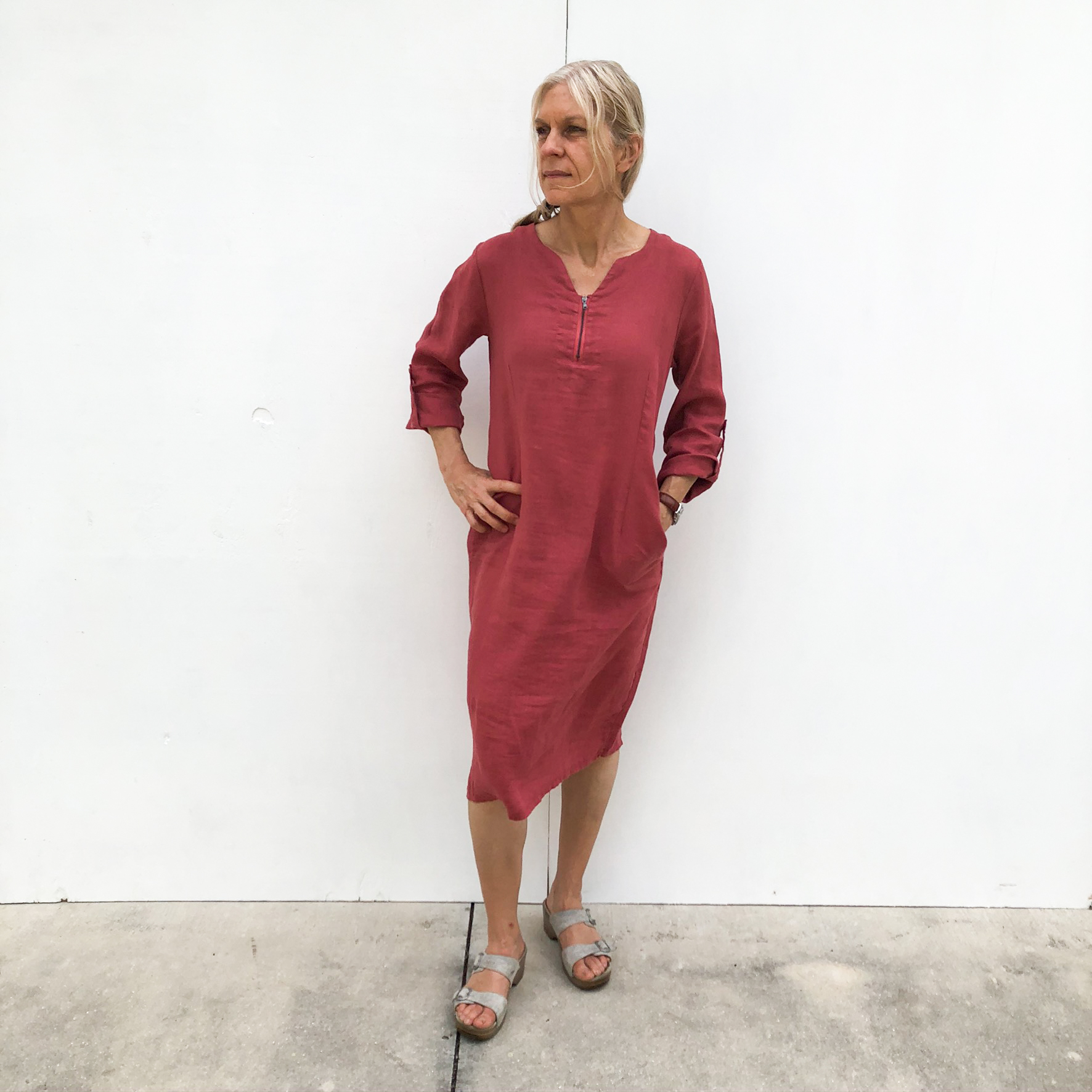 Zipper Dress on Model - Rust