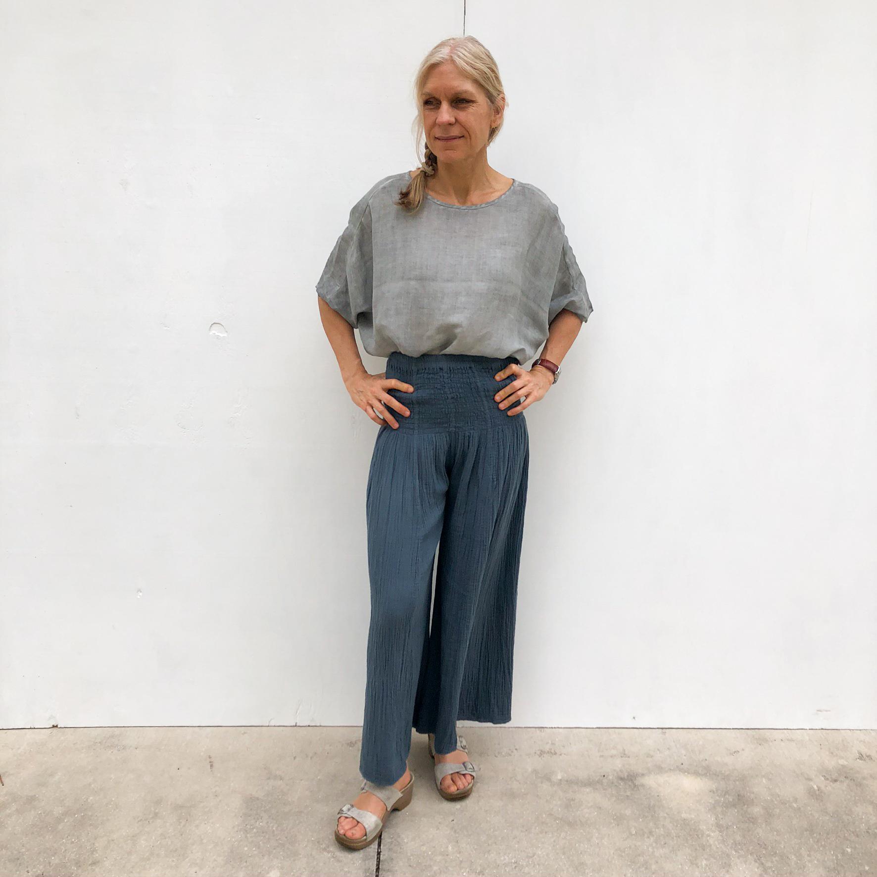Linen Top & Navy Pants