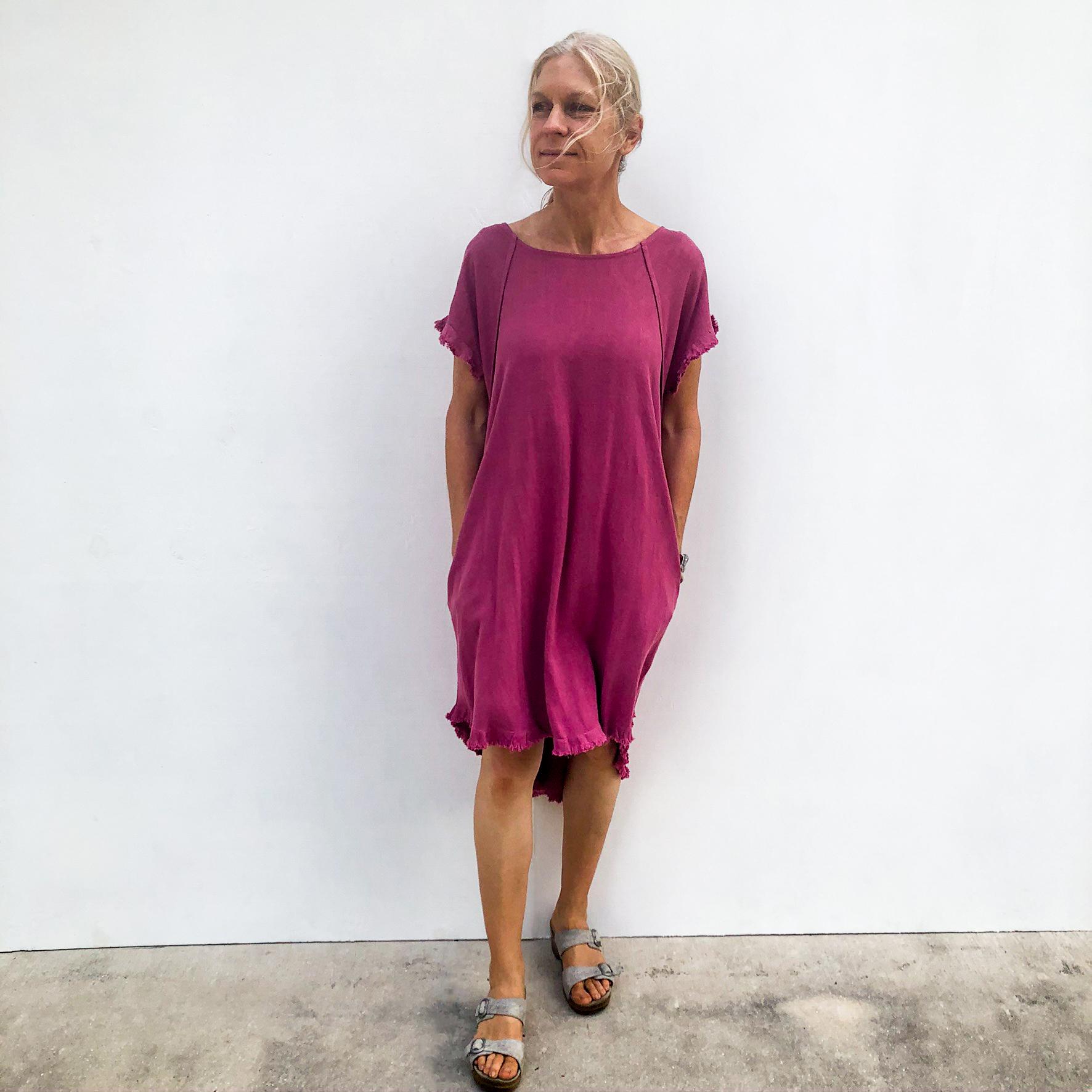 Model Wearing Round Neck Pocket Dress - Berry