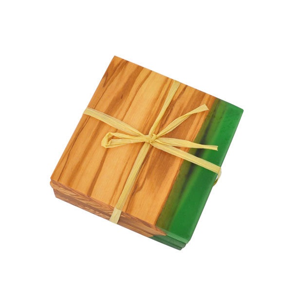 Square Coasters - Set of 4 - packaged - green