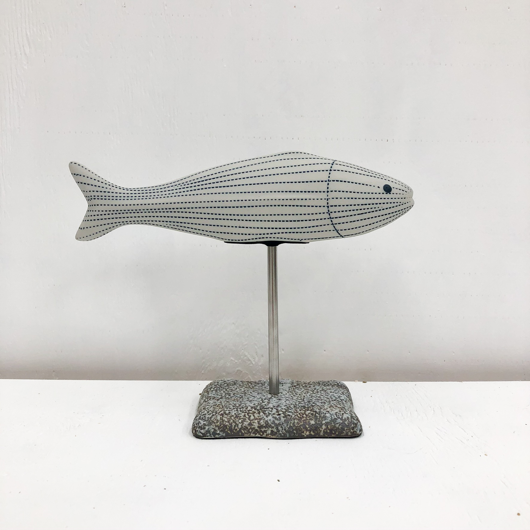 Adrian S Handmade Vase - White and Blue Fish