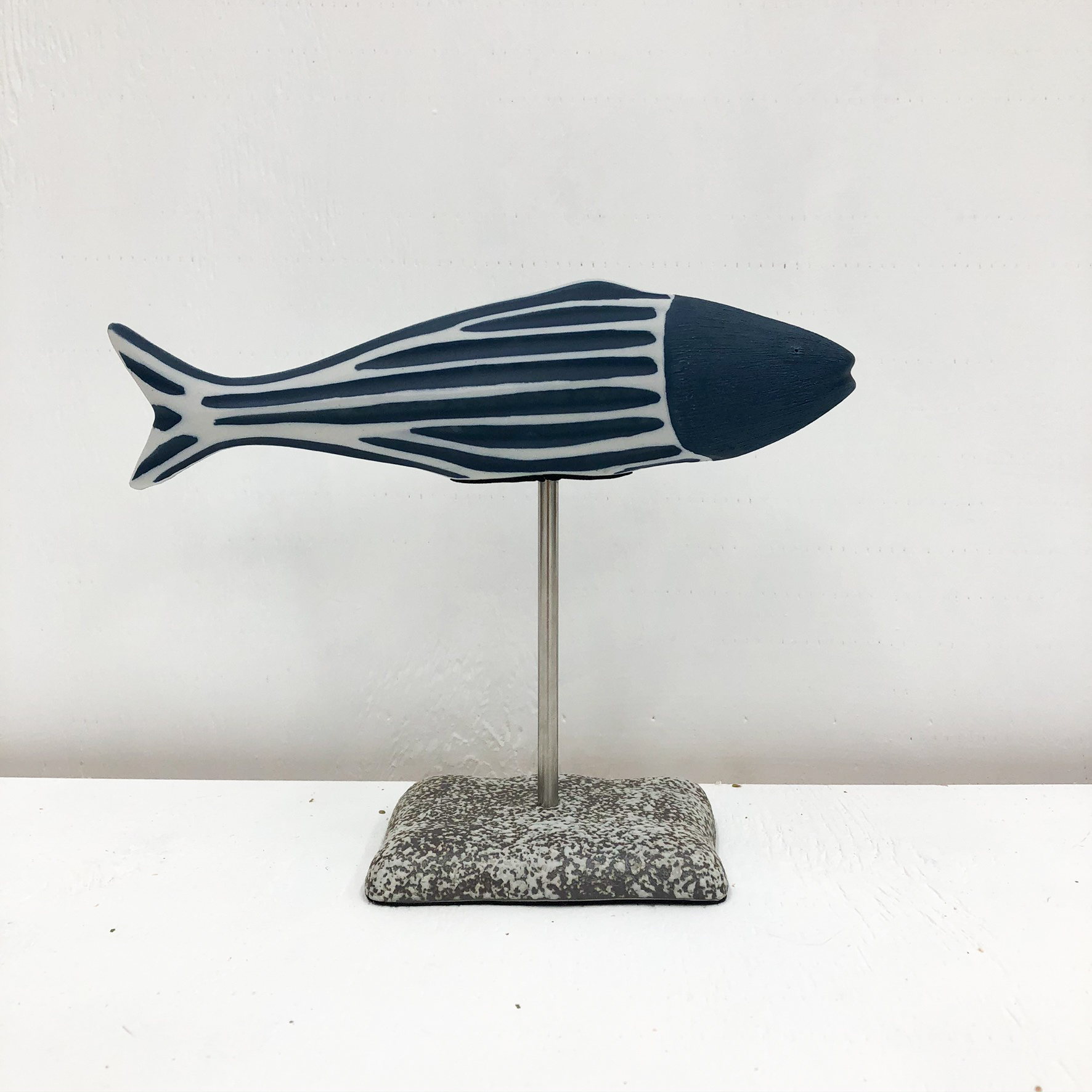 Adrian S Handmade Vase - Navy Fish