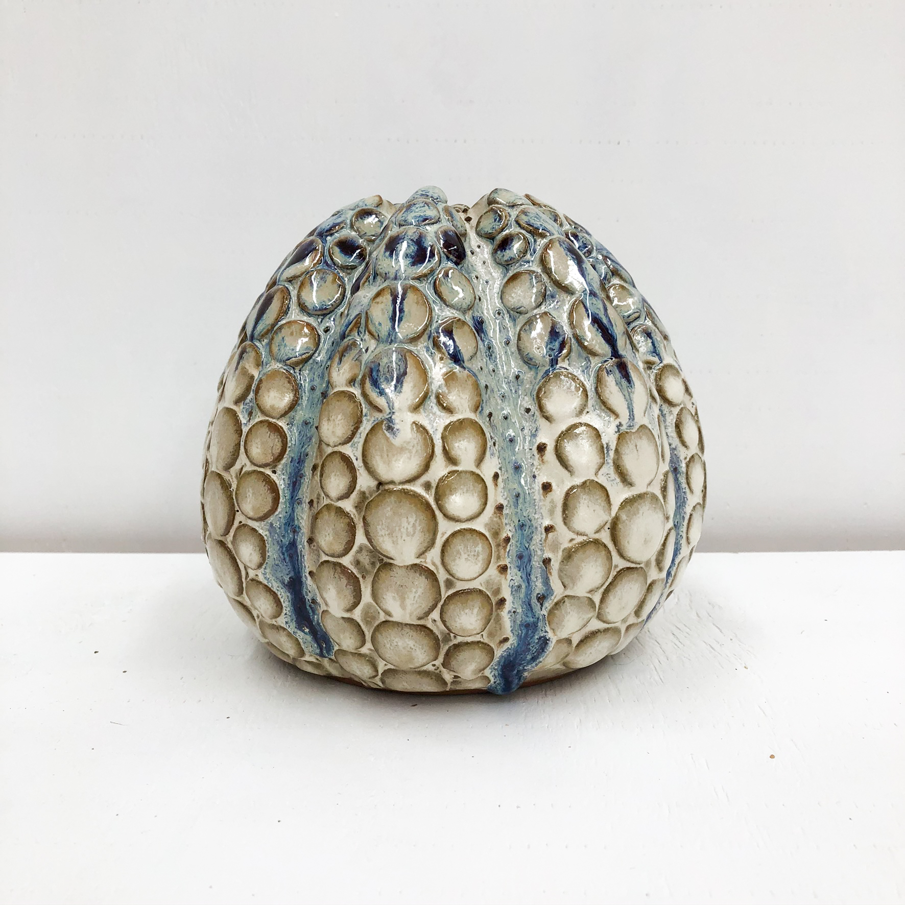 Octopus Handmade Vase - Blue & White - empty