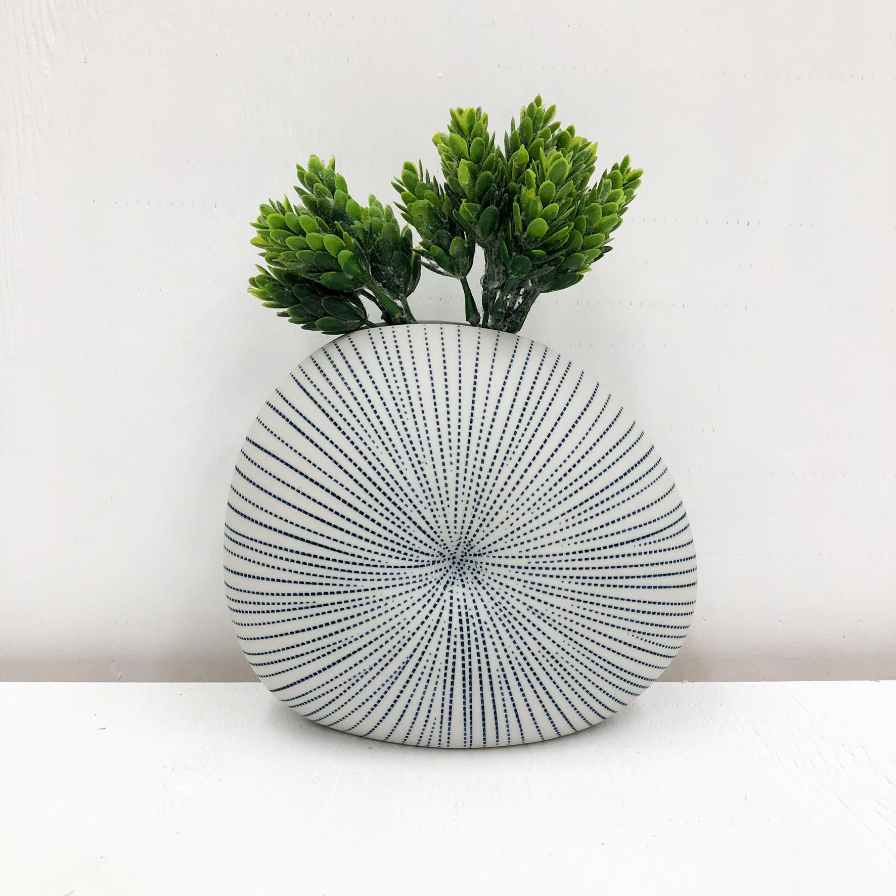 Diva Round Handmade Vase - White & Blue Dots