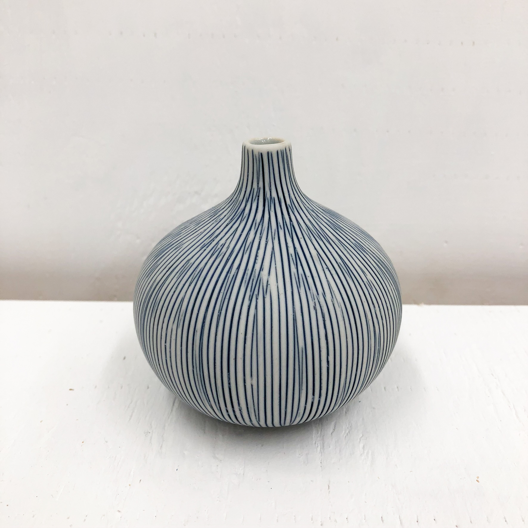 Congo Tiny L Handmade Vase - White & Blue Stripe