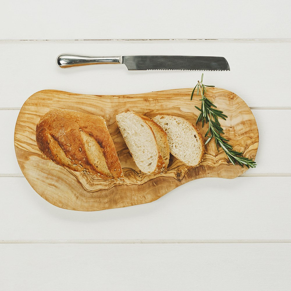 Olive Wood Cutting Board with bread