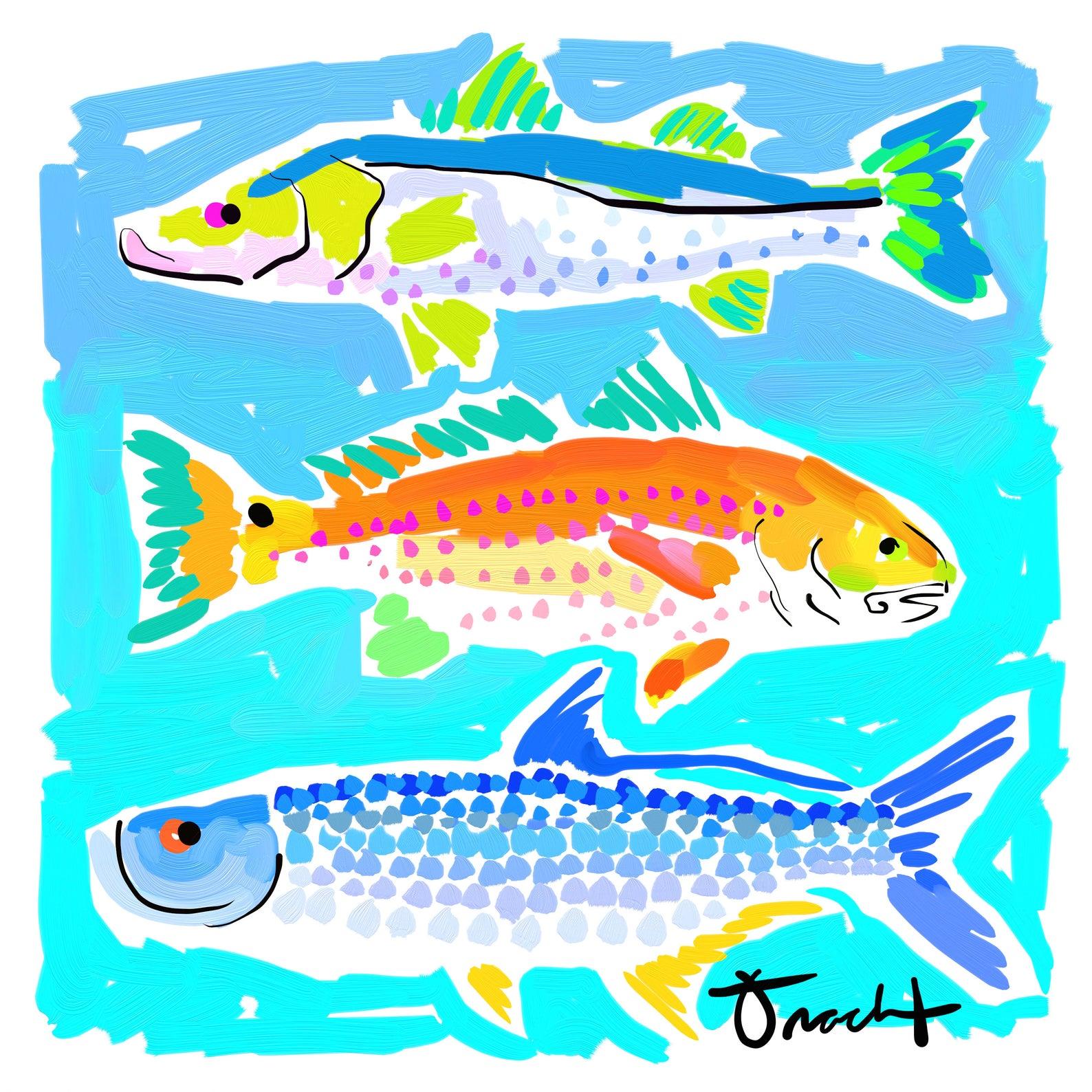 colorful art print of three fish