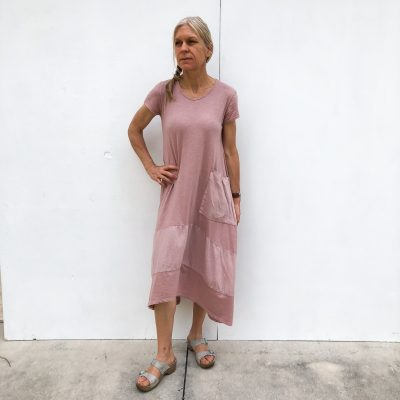 Long Pocket Linen/Cotton Dress on Model - Rose