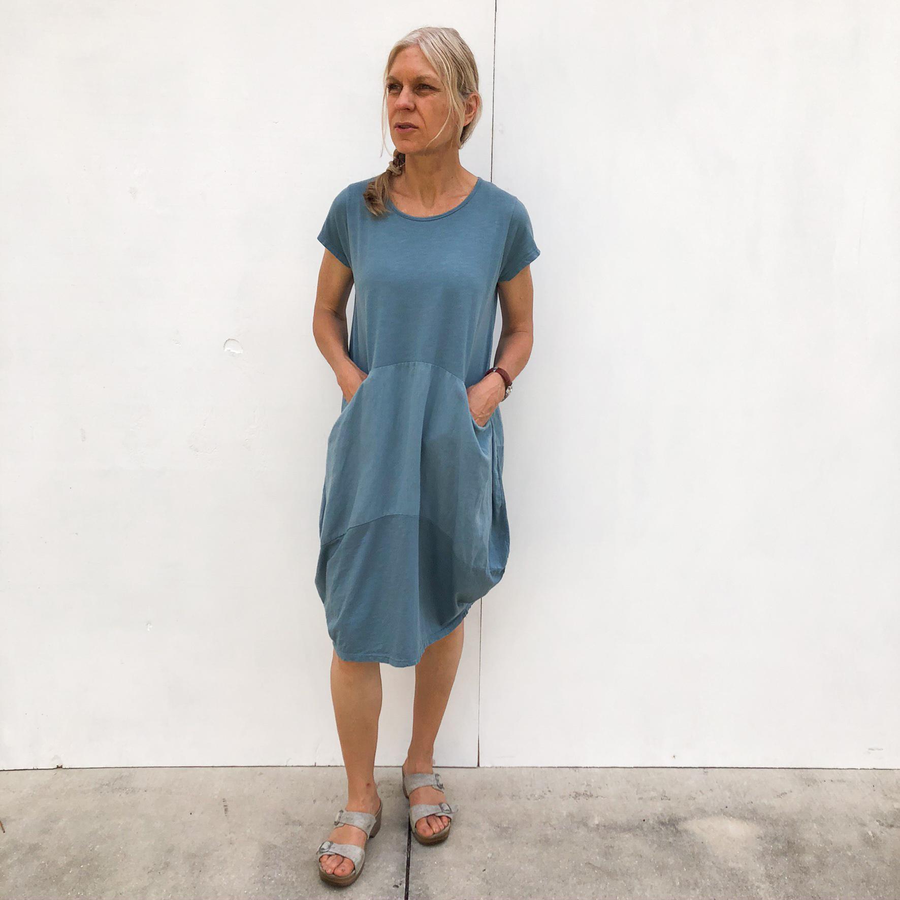 Short Two Pocket Dress on Model - Blue