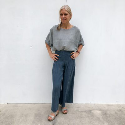 Linen Top & Navy Pants