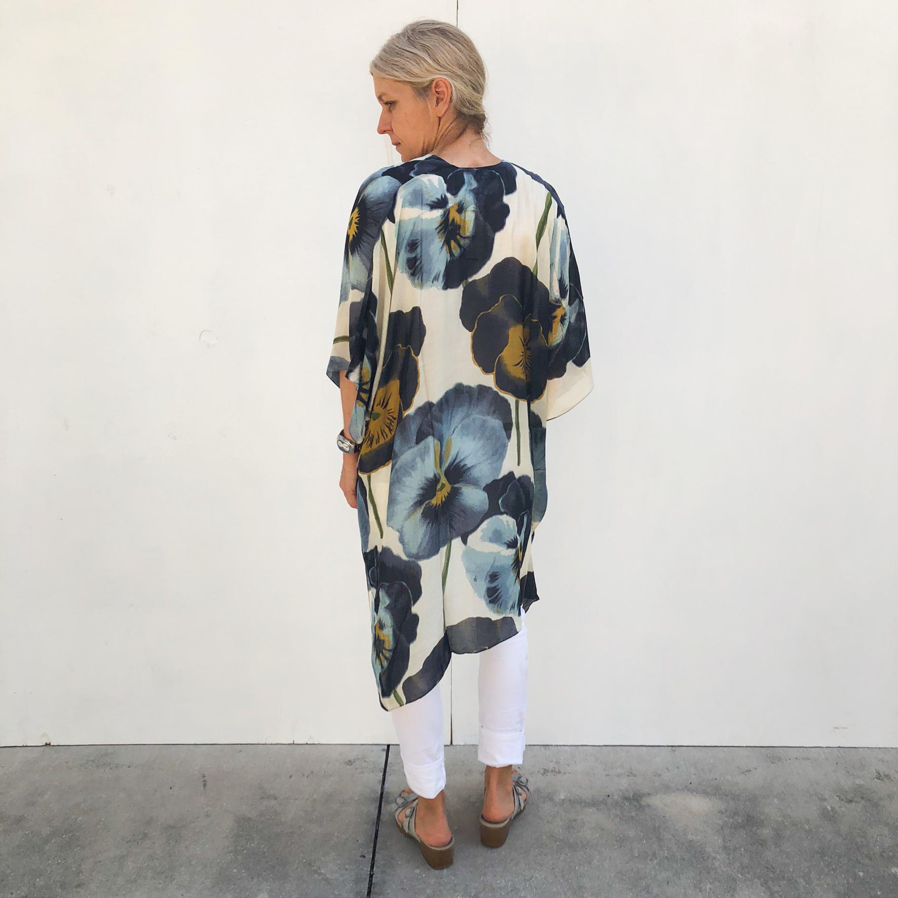 Pansy Flower Long Kimono on Model - Back on Model