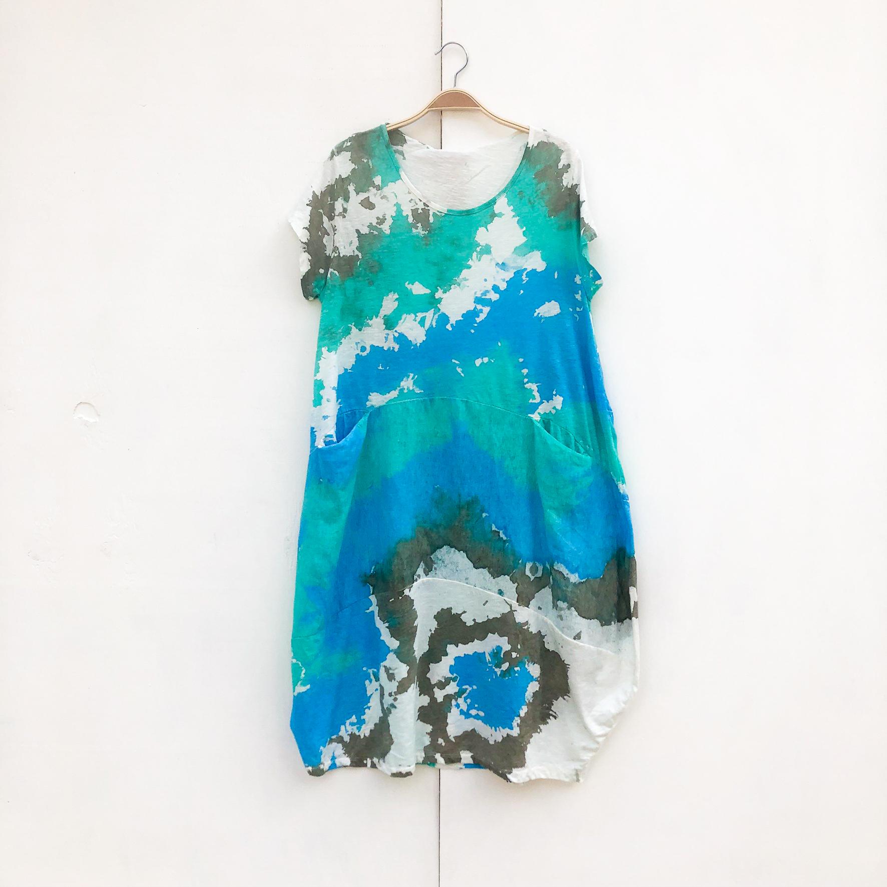 Short Two Pocket Dress on Hanger - Aqua Splash