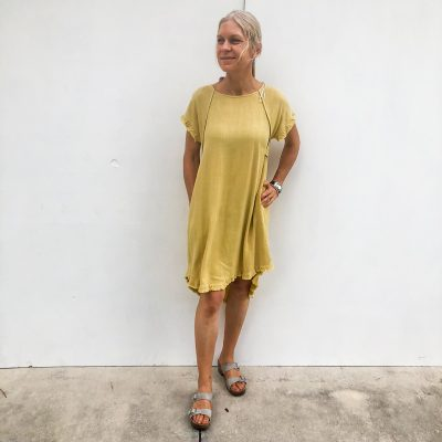 Round Neck Pocket Dress - Golden Yellow
