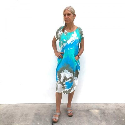 Short Two Pocket Dress on Model - Aqua Splash