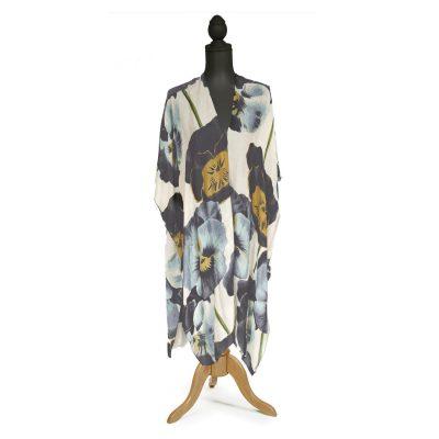 Pansy Flower Long Kimono