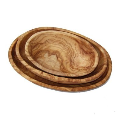 Olive wood dishes stacked