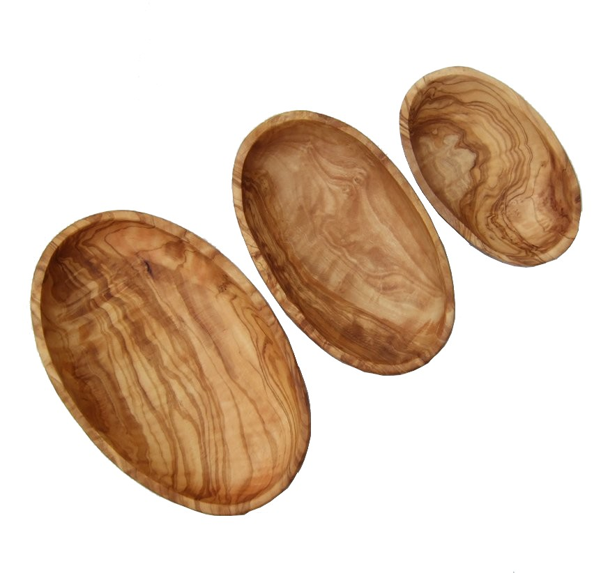 Olive wood dishes side by side