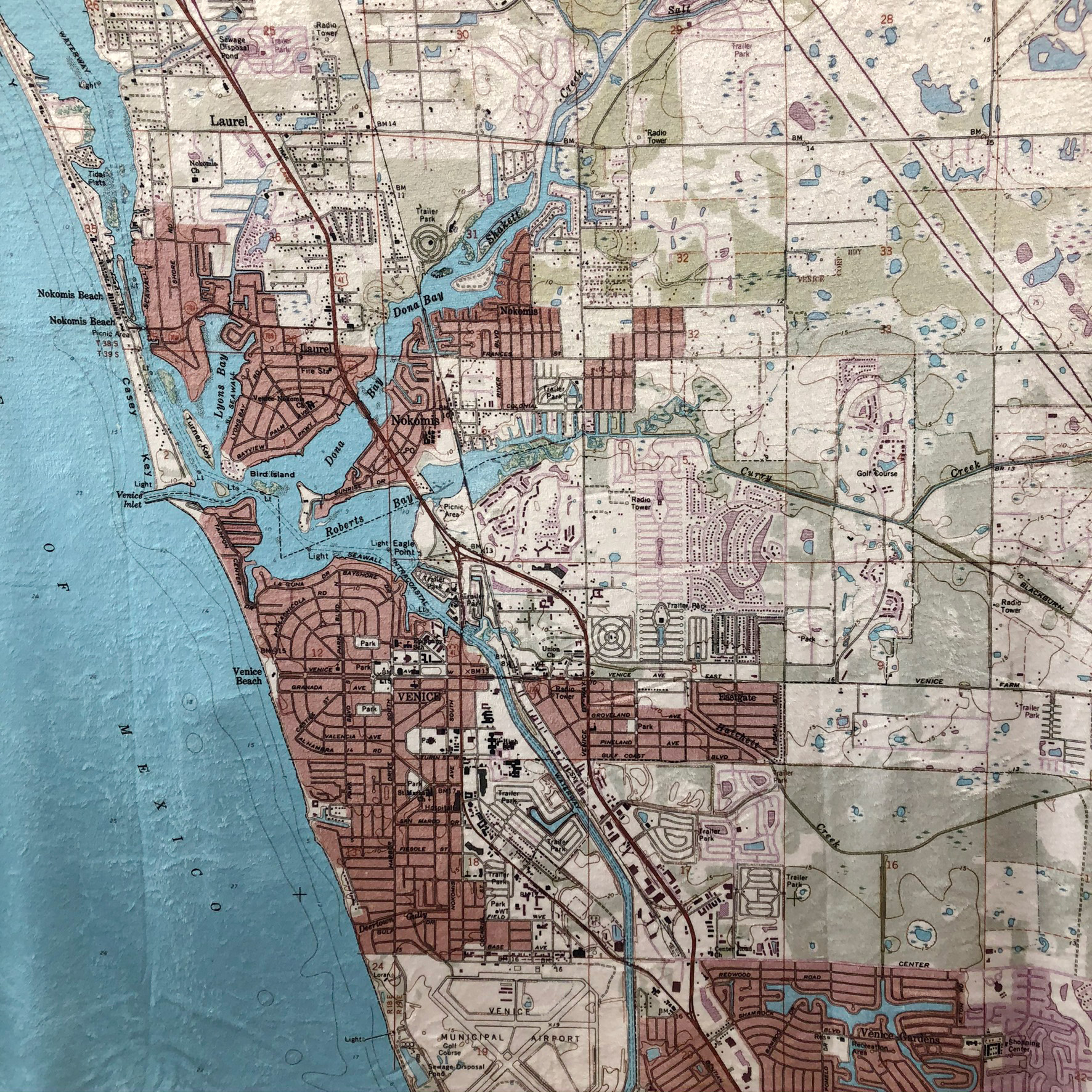map of Venice Florida on a blanket